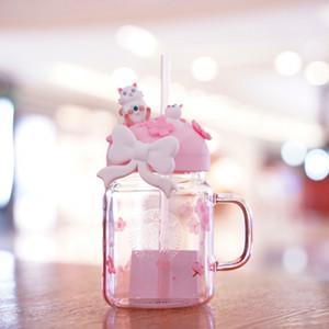 جديد ستاربكس ساكورا القط الزجاج الوردي القش فنجان القهوة أزهار الكرز ميسون كوب ماء بارد لخارج باب الرياضة يرافق الكأس