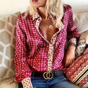 Mulheres cetim de seda shirt Primavera Verão Escritório Ladies Blusas 2020 Moda Impresso manga comprida Tops Botão V-Neck camisetas Blusas T200322