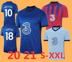 new 2020 2021 KANTE ABRAHAM MOUNT LAMPARD ODOI JORGINHO PULISIC soccer jersey 2020 2021 GIROUD WILLAN football shirt