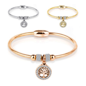Árvore da Vida encanto pulseira de aço inoxidável Cubic Zircon Pendant Bangle para Mulheres Meninas Magnetic Buckle Cuff pulseiras jóias presente