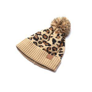 Lavorato a maglia leopardo Beanie inverno cappello di modo per adulti Autunno spessore caldo Bonnet Skullies Beanie morbida maglia con Tag