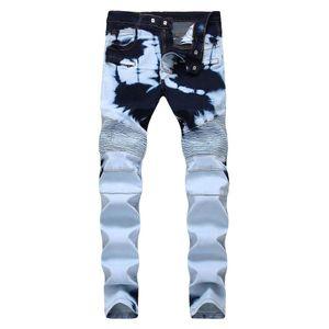 dos homens rasgado jeans calças compridas regulares vincado meados de subir calças retas com buracos angustiado jeans luz tamanho 28-40 transporte livre
