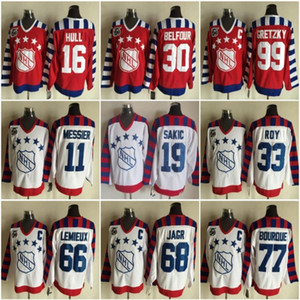Tutti CCM della stella 2016 Vintage 66 Mario Lemieux Hockey su ghiaccio Maglie 68 Jaromir Jagr 77 Ray Bourque 99 Wayne Gretzky 33 Patrick Roy
