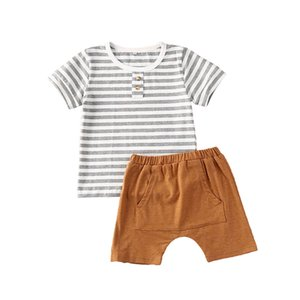 New Fashion Summer 2PCS Outfits Newborn Baby Boys Clothes Striped T-Shirt Casual Loose Solid Shorts
