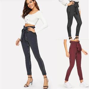 Schwarz Taille Streifen Zigarettenhose Belted Hohe Taille Bleistift Hosen Frauen Frühling Lässig Büro Dame Workwear Hosen