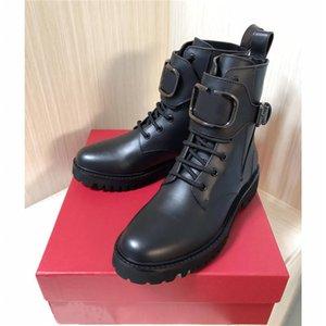 Le donne inverno stivale da combattimento in pelle di vitello, Womens Martin caviglia-alti stivali di pelle smerigliate rivestite in nero prossimo con la scatola