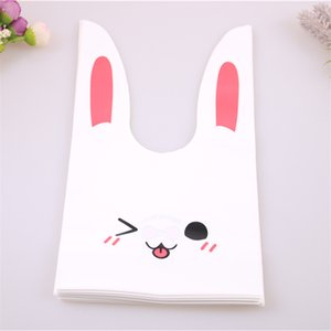 New Style Wholesale 100pcs lot Cute Cookies Packing Bags For Birtyday Party Food Cake Packaging Rabbit Ear Candy Bags