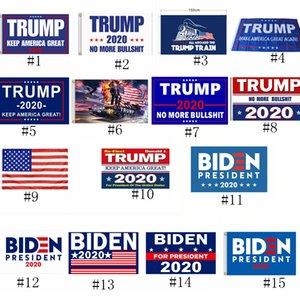15styles Trump Bayrağı Başkanı ABD Seçim Banner Parti Bayrağı Deniz Kargo GGA3477 90 * 150cm Donald Trump V S Joe Biden Dekor Banner