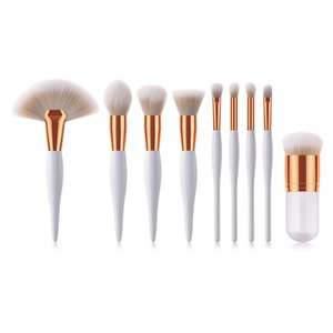 9pcs Makeup Brushes Kit Women Black White Wood Handle Synthetic Hair Pro Cosmetic Tool Make Up Brush Set Female