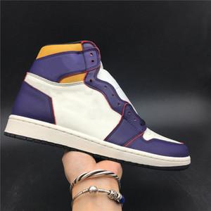 Melhor Versão 1 OG Lakers Chicago Tribunal alta Roxo Black Sail University Man ouro Designer Esporte Sneakers vem com caixa Tamanho US7.5-12