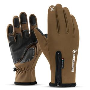 2020 completa Finger Zipper inverno in bicicletta sci Unisex antivento Touch Screen Gloves peluche guanti moto Ciclismo Equitazione tattici Guanti