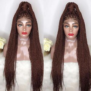 Top ventes haute densité perruques Tressé Lace Front Box fibres synthétiques perruques épais pleine main Twist synthétique cheveux Micro Havane Twist Perruques
