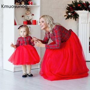 Noël Mère Fille Robes Maman et moi vêtements assortis famille Plaid maman robe enfants enfant H0957 LY191220