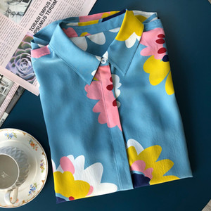 2020 Early Spring Nuova Beautiful Blue Sun Flower morbida sabbia lavata a maniche lunghe 18 millimetri shirt in seta 100%