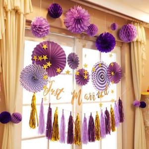 Neue Papier Fan-Blumen-Hochzeit Dekorationen Geburtstag Hochzeit Hintergrund-Layout DIY Büttenpapier Blume Fan Fenster Hintergründe 6pcs Set