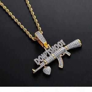 Brass CZ Gun With Heart Don't Shoot pendants 4mm CZ Tennis Chain Optional Men Necklace Jewelry Gift CN130