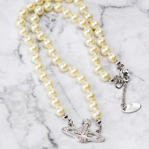 Hot Selling Pearl Chain Satellite Pendant Necklace Women Rhinestone Crystal Orbit Necklace Gold Silver Fashion Jewelry