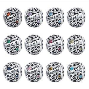 Ocak Charms Bilezikler Temmuz Ağustos Taş Kolye için Aralık Birthstone Charm Katı 925 Gümüş Takı Spacer Beads