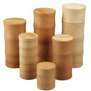 Botellas de bambú almacenaje de la cocina de contenedores Jar organizador del caso de la especia Ronda Caps junta de la caja del frasco para los áridos