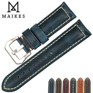 Maikes Montre Accessoires Cire À L'huile Bracelet En Cuir 20mm 22mm 24mm 26mm Bracelets Vintage Bleu Montre Bande Bracelet Pour Panerai Y19070902
