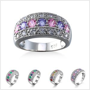 2020 New zircon female wedding rings turn to noble fashion women to create multicolor zircon ring 6-10