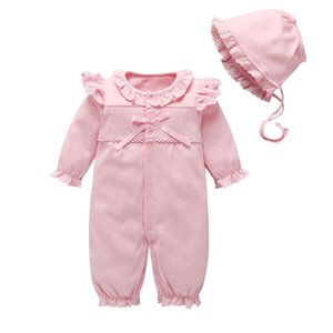 Newborn Baby Girl Clothes Lace Flowers Jumpsuits & Hats Clothing Sets Princess Girls Footies for 2019 Autumn Baby Body suits 30 T200706