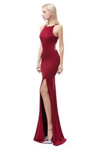 Bellezza Emily Wine Red Sexy Sirena Satin Abiti da sera 2019 Long per le donne Abiti da sera formale Party Prom Party Dresses