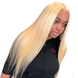 613 блондинка кружева фронт парик бразильские человеческие волосы 150% 360 кружева фронтальный предварительно сорвал с ребенком волосы Реми прямой парик