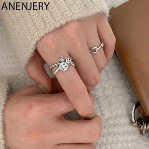 ANENJERY Vintage semplice volto sorridente Thai Silver Ring 925 Silver Cross catena aperta Finger Anello Gioielli per le donne S-R664