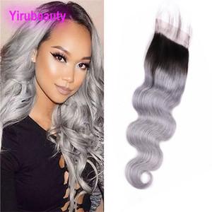 Peruanische Rohboden Menschliches Haar 4X4-Spitze-Schliessen Mittel drei freie Teil 1B / Grau vier durch vier Spitze-Schliessen-Körper-Welle 1B Grau Ombre Haar