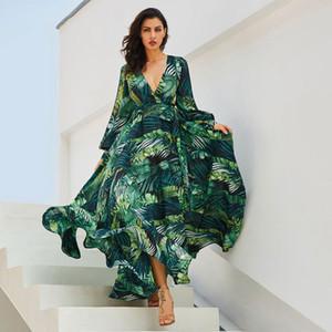Las mujeres de vestir de manga larga Vintacy verde tropical de la playa de la vendimia maxi vestidos Boho Casual cuello en V de la correa atan para arriba Túnica drapeado vestido de talla