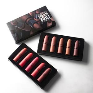 Femme maquillage cosmétique mini lèvres d'échantillon d'échantillon combinaison combinaison 5 pcs rouge à lèvres, ensemble de lèvres hydratantes durables sans décoloration