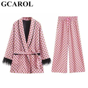 GCAROL 2019 Women'Sets 2 pieces Kimono Geometric Floral Coat With Sidhes Elastic Wide-Leg Pants Chic Retro Outfits
