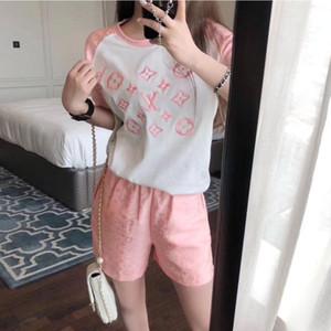 2020 женщина футболка + широкий ноги шорты высокого качества дизайнер свободный эластичный пояс ретро опоясанный роскошных женщин летний костюм