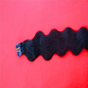 "Jet Black Color Tape In Synthetic Hair Extensions 22""Inch Body Wave Hair Extensions 10-38 Inchs Tape PU Skin Weft Invisible 40pcs pack"