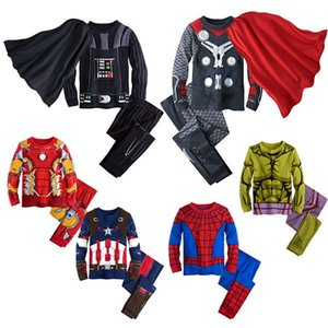 아이들 디자이너 의류 소년 슈퍼 히어로 아이언 맨 잠옷 세트 어린이 복수 자 정상은 + 바지 2 개 세트 봄 가을 아기 의류 C6668을 설정합니다