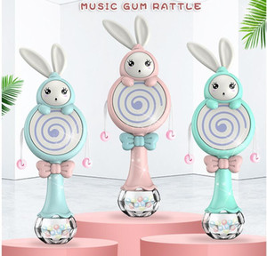 Molars, children's toys, 0-1-year-old children's gum rattle, light, music stick, rattle drum