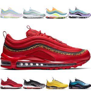 nike air 97 shoes Vendita calda Mens Womens Red Leopard Sneaker Scarpe OG Rainbow Pink Laser Fucsia Iridescent nd space purple LONDON Running Sport Trainer Scarpe