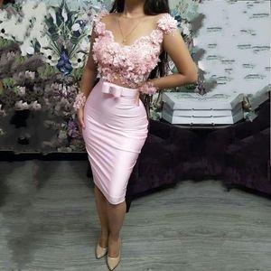 2020 Cheap Blush Pink Cocktail Party Dresses See Sebbene 3D del merletto Appliques in rilievo Ante maniche lunghe breve mini ritorno a casa di promenade Ragazze
