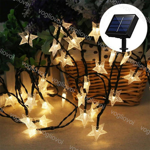 태양 정원 조명 LED 문자열 PVC 스타 스타 20 50 100 leds 따뜻한 흰색 방수 크리스마스 웨딩 파티 정원 DHL