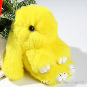 100% Real Genuine Rex rabbit Furs Keychain Pendant Bag Car Charm Tag Cute Mini Rabbit Toy Doll Real Fur Monster Keychains
