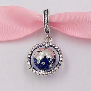 Authentische 925 Sterling Silber Perlen Spinning Globus baumeln Charme Charme passt europäischen Pandora-Stil Schmuck Armbänder Halskette 798021cz