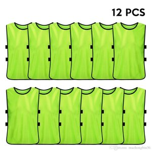 12 PCS Adults Soccer Pinnies Quick Drying Football Jerseys Vest Soccer Team Against Bibs Sports Vest Breathable Team Training Bibs