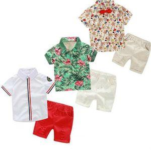 On Sale 2 Pieces Sets Kids Clothing Boy Summer Sets Flowers Or Leaves Print Short Sleeve T Shirt + Short Boy Clothing Sets