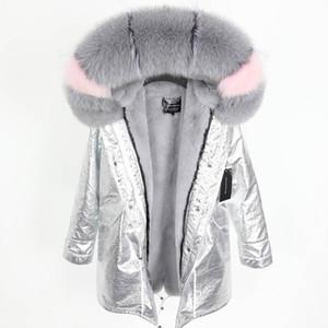 Роскошные maomaokong Марка серый лисий мех отделка холодной устойчивостью женщин пальто серый кролик меховая подкладка серебро длинные парки