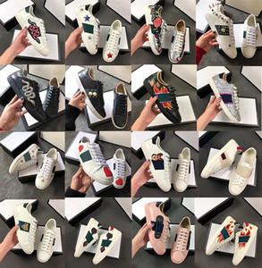 Üst Deri Arılar Yılan Kaplan Yangın Gerçek Deri Sneakers Sports Erkekler Kadınlar Tasarımcı İşlemeli Yapay elmas Punk Trainer Moda Kutusu