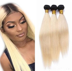 9A Ombre 1B 613 Dark Roots Blonde Hair Wefts Brazilian Straight Hair Extensions 3 Bundles Ombre Blonde Virgin Hair Weave