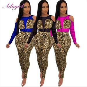 Sheer Sexy Mesh Patchwork con stampa leopardata Night Party tuta Donne 2020 Backless scava fuori Outfit Club i pagliaccetti femminili Tuta