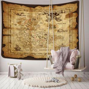 Творческого Pirate Map Pattern HD Печатного Гобелен Гобелен Древнего Стиль стена Art Покрывала Home Decor