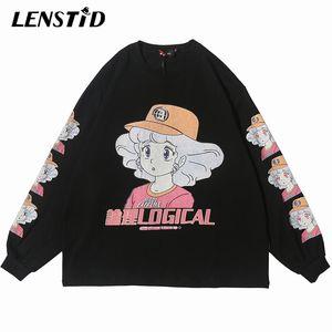 LENSTID 2020 Homens Hiphop menina dos desenhos animados Anime Imprimir camiseta Harajuku Streetwear Camiseta manga comprida Oversize camiseta de algodão Top Tees